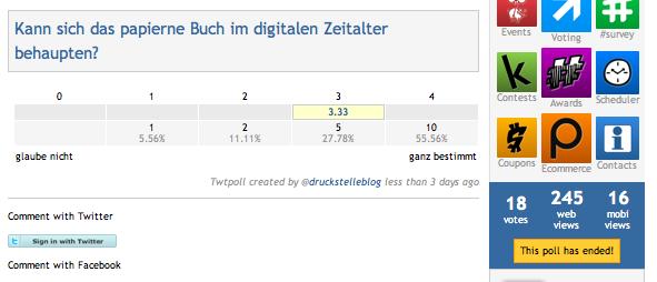 Screenshot vom Ergebnis meiner twtpoll-Umfrage