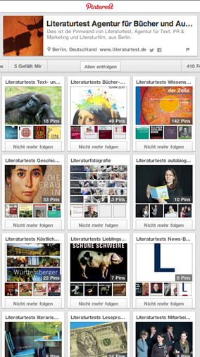 Screenshot: Pinterest Pinnwände von Literaturtest
