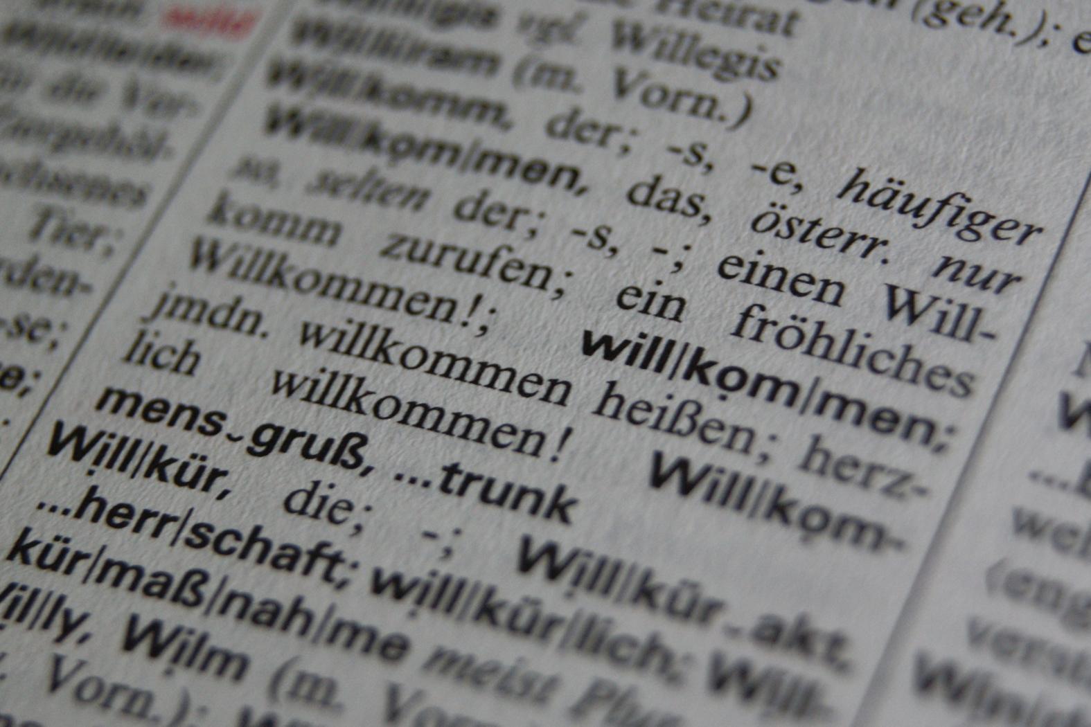 Willkür kommt nach Willkommen - Duden 21. Aufl.