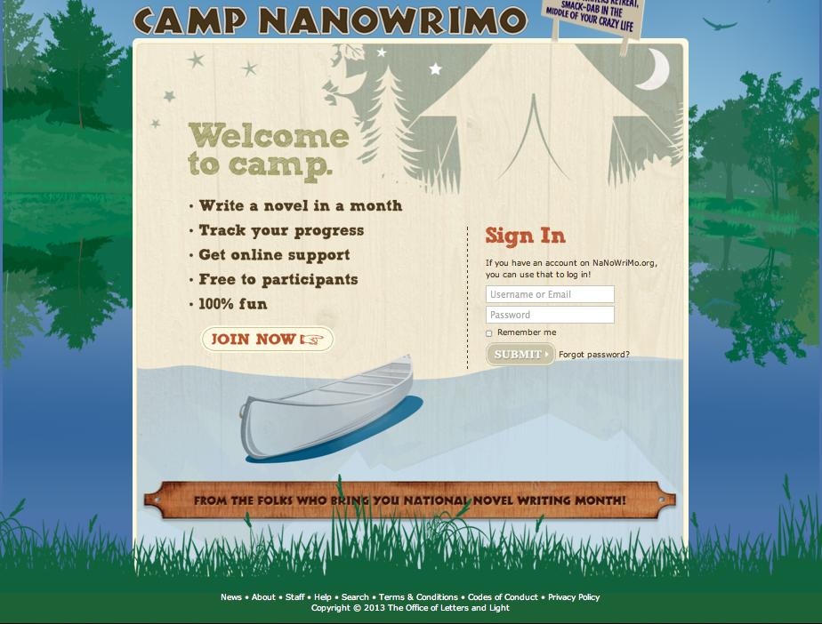 Anmeldung zum Camp NaNoWriMo - Schreibcamp