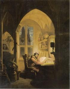 Bild Faust im Studierzimmer - Arbeiten in der Nacht - Schreiben - Lesen