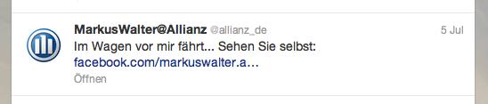 Allianz Tweet %22Im Wagen vor mir fährt...%22