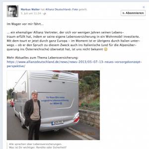 Facebook Posting Markus Walter - Wohnmobil - Allianz Deutschland