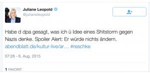 Juliane Leopold Twitter Reschke Reaktion